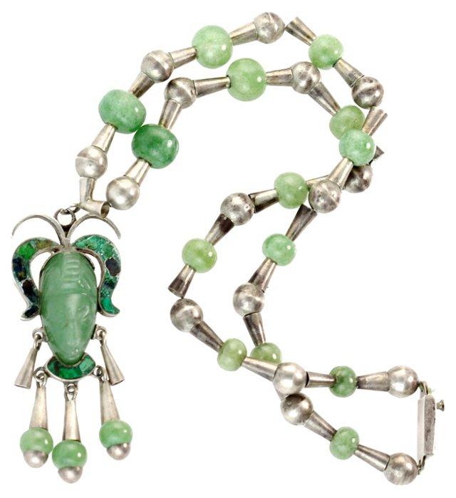 Mexican Silver & Jadeite Necklace