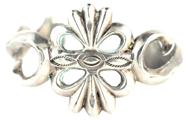 Navajo Cast Silver Bracelet