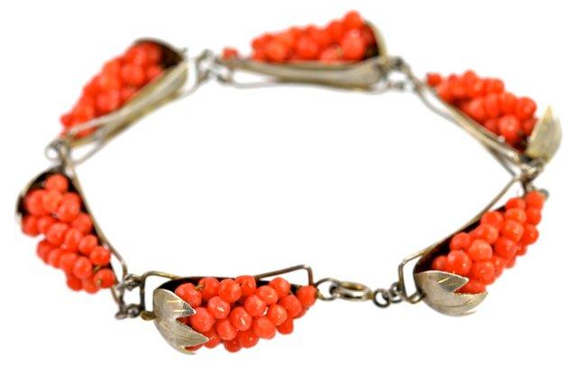 Red Coral Cluster Bracelet