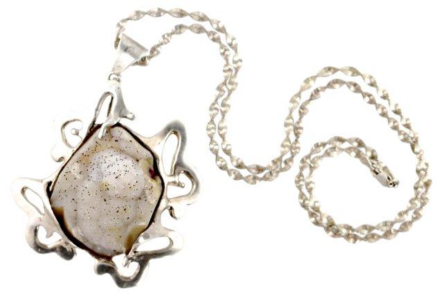 Silver Quartz Druzy Necklace