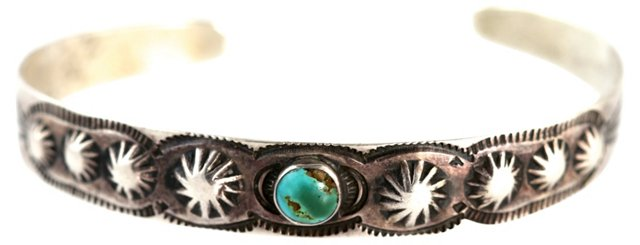 Navajo Fluted Button Turquoise Cuff
