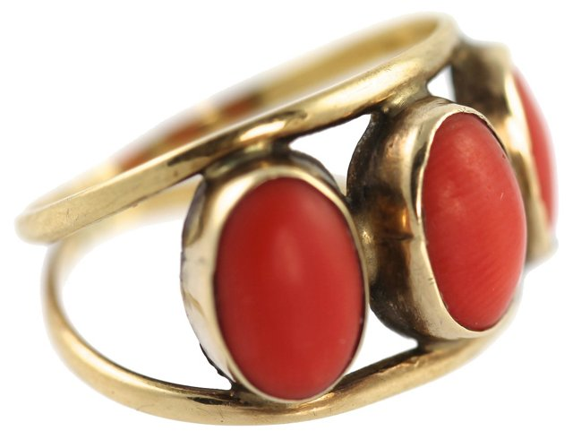 Victorian 18K Gold & Coral Ring