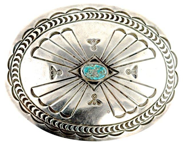Navajo Turquoise Concho Belt Buckle