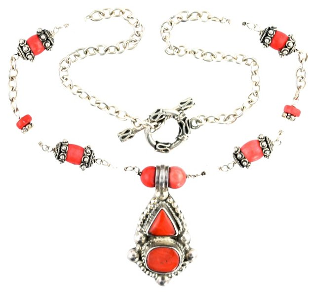 Ethnic Moonstone & Coral Necklace