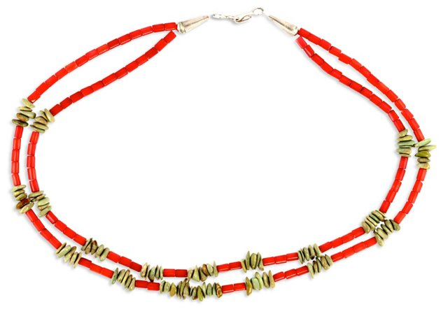 Coral & Green Turquoise Necklace