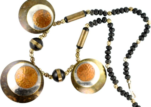 Mixed-Metals Beaded Necklace