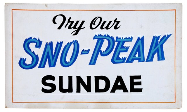 Diner Hand-Painted Sundae Sign
