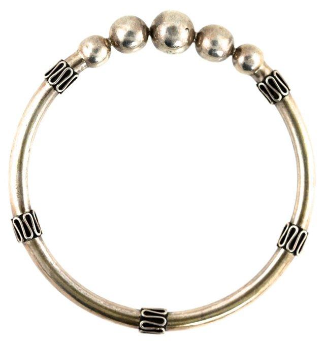 Sterling Silver Orb Bangle Bracelet