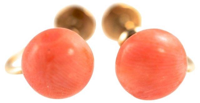 10K Gold & Coral Earrings