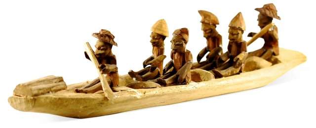 Carved Wood African Boaters
