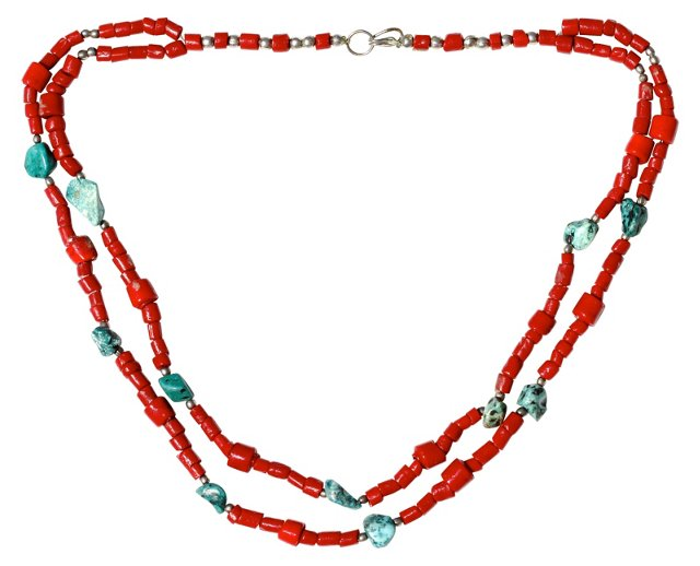 Red Glass & Howlite Bead Necklace