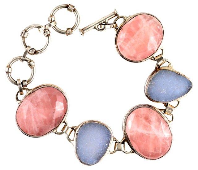 Rose Quartz & Drusy Bracelet