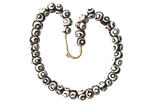 Black & White Bone Trade Bead Necklace*