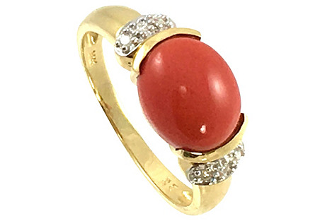 14K Gold, Coral & Diamond Ring