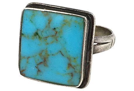 Square Sterling Silver & Turquoise Ring