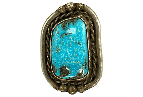 Large Navajo-Style Turquoise Ring