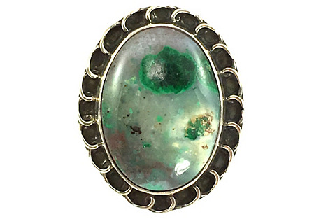 Malachite Included Agate Silver Ring