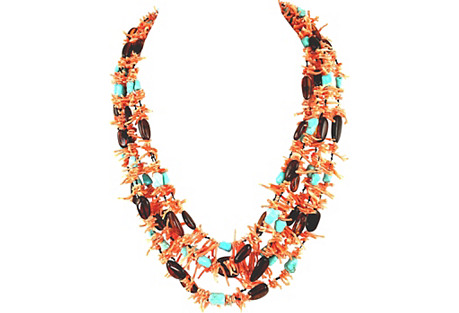 Multi-Strand Coral Turquoise Necklace