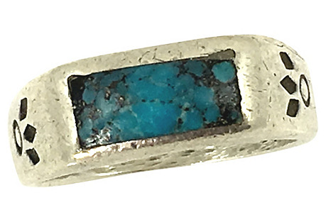 Navajo-Style Silver & Turquoise Ring