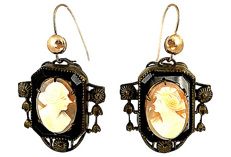 Art Deco Cameo Earrings