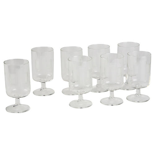 Art Deco-Style Wine Goblets, S/8