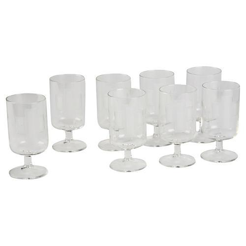 Art Deco-Style Wine Goblets, S/8
