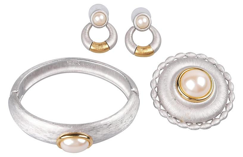 Monet Silvertone Faux-Pearl Suite