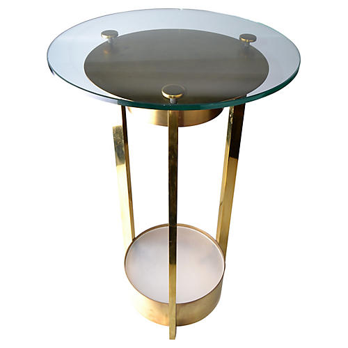 Illuminated Brass/Glass Side Table