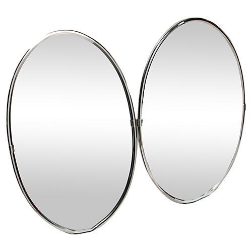 Oval Chrome Wall Mirrors, Pair
