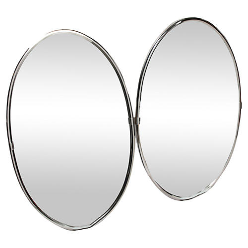 Oval Chrome Wall Mirrors, Pair