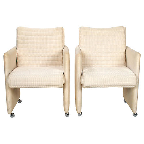 Milo Baughman Armchairs on Casters, S/2