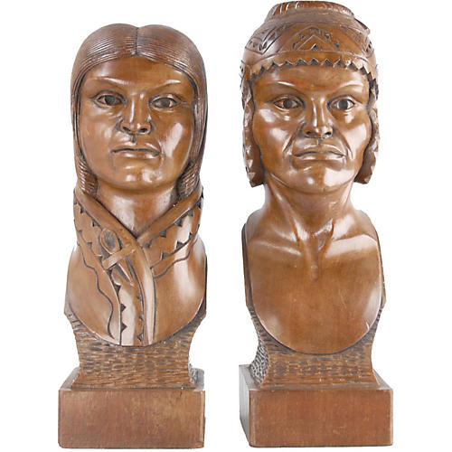 Handmade Native American Sculptures, S/2