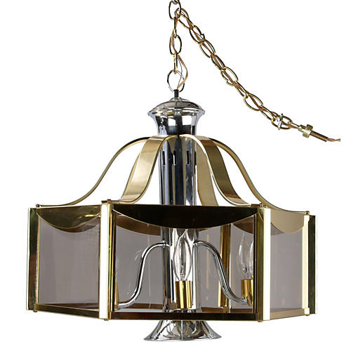 F. Ramond Brass & Chrome Chandelier