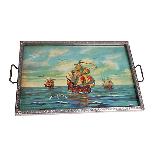 1930's Sailboat Glass & Metal Tray