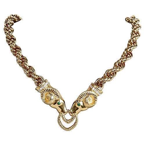 KJL Ram's Head Necklace & Earrings