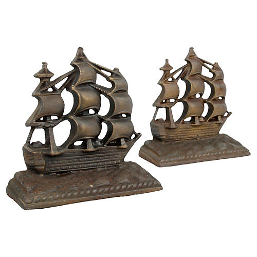 Bronze Sailboat Bookends