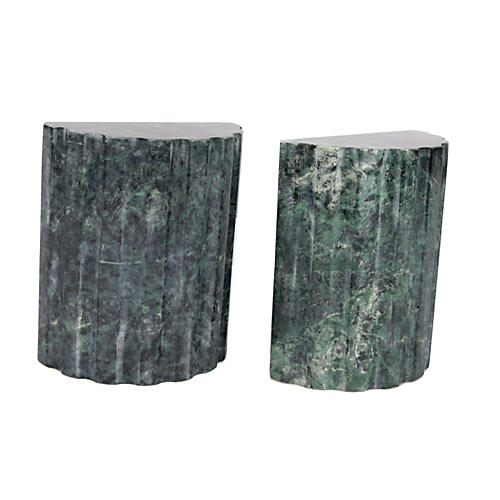 Handmade Green-Gray Marble Bookends