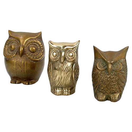 Solid Brass Owls, S/3