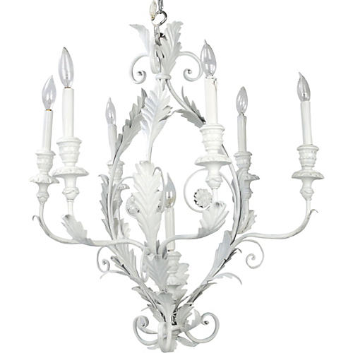 Italian Metal Flower Leaf Chandelier