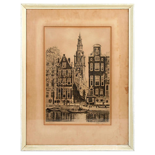 Signed Amsterdam Etching by Roodenburg