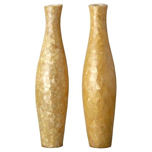 Tall Capiz Vases, S/2