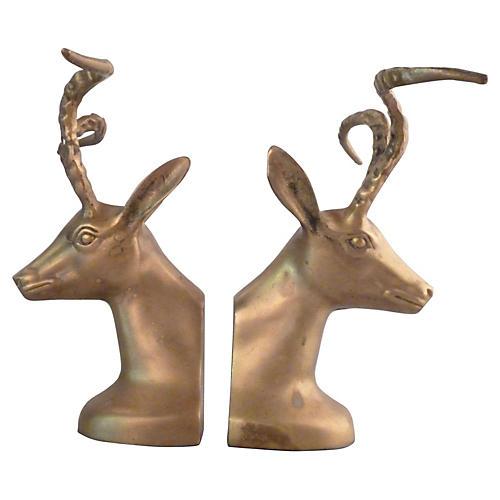 Bronze Ibex Bookends