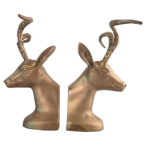 Bronze Ibex Bookends
