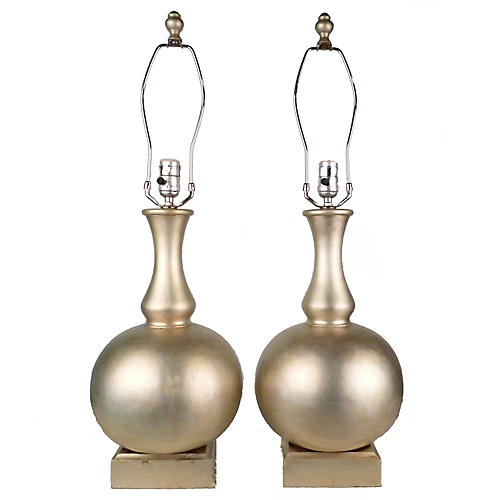 Golden Wood Table Lamps, Pair