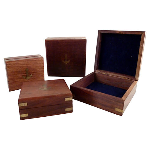 Birch Boxes w/ Brass Details, S/4