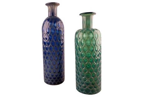 Green & Blue Handblown Glass Vases, S/2