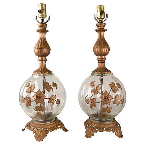 Glass & Brass Table Lamps, Pair