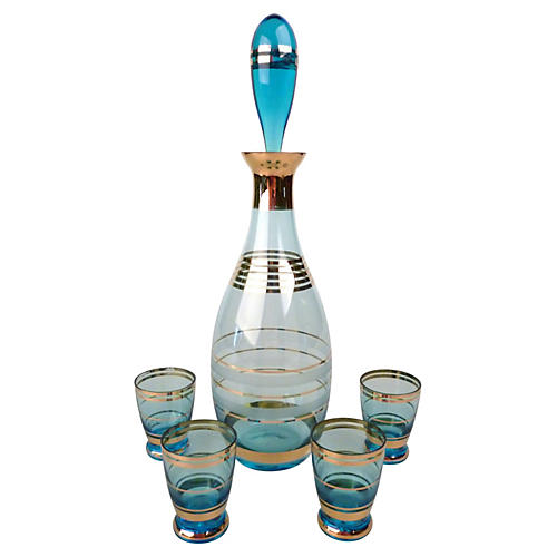 Glass Decanter w/ Shot Glasses, C.1950
