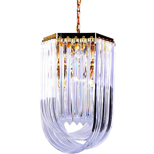 Large Lucite Ribbon Chandelier w/ Canopy