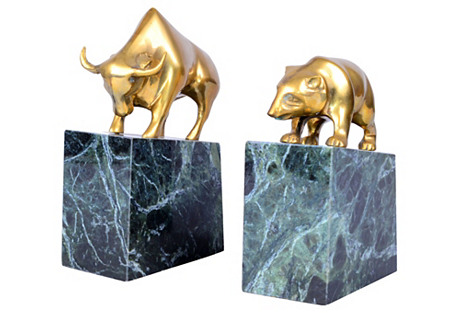 Brass Bull & Bear Bookends, S/2